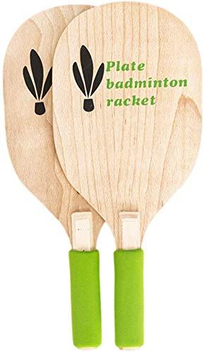 HLD Beach-Tennis und Badmintonschläger Paddel Set Holzschläger Paddles Set im Freien Spiel for Erwachsene Kidswith 2 PingPong Ball 10 Shuttlecock - Garten