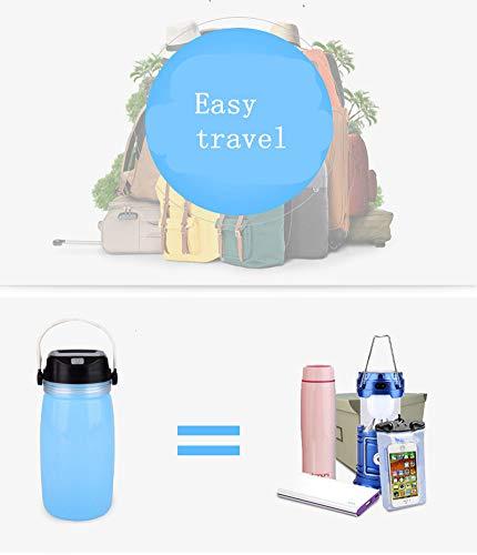 YDYL-LI 750 Ml Outdoor Silikagel Wasser Taschen Tasse Tragbare Sport Wasserkocher Solar Lade Camping Lampe Ladung Pal Nachtlichter Wandern,Blue