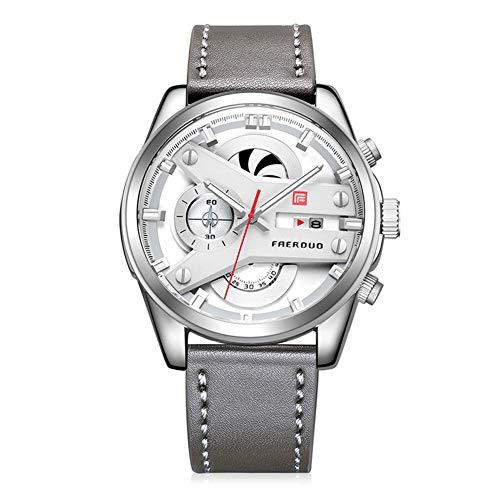 Relojes De Pulsera para Hombre Dial Personalizado Movimiento De Cuarzo Analógico Cronógrafo con Fecha Impermeable Relojes De Moda Puntero Luminoso Correa De Cuero Regalo para Hombres