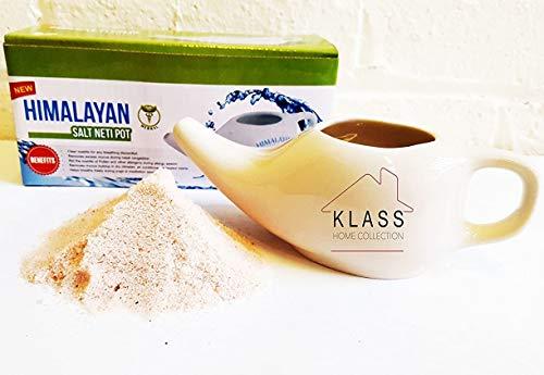 Klass Home Collection - Recipiente de cerámica para sal del Himalaya, ideal para el enjuague nasal y desintoxicante y para el alivio de los senos nasales