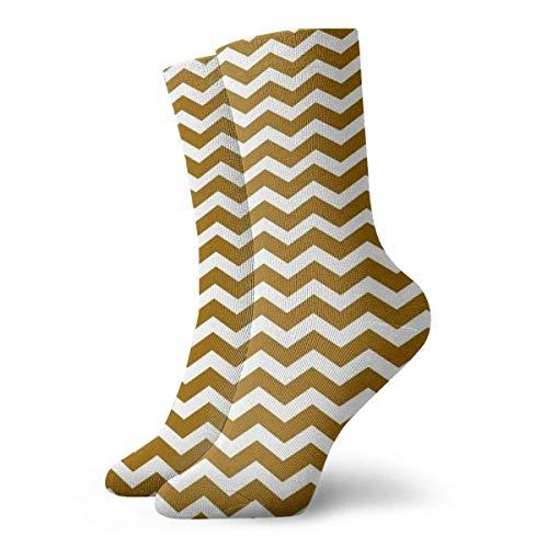 Felsiago Men's Women's Crew Socks White and Gold Chevron Athletic Socks Custom Personalised Antibacterial Odour Cushion Short Boots Stocking