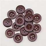 50pcs / lot Tamaño: 12.5 mm-20 mm Botón de madera natural Botones de madera de 4 agujeros para coser accesorios de ropa (SS-923) - Marrón, 18 mm