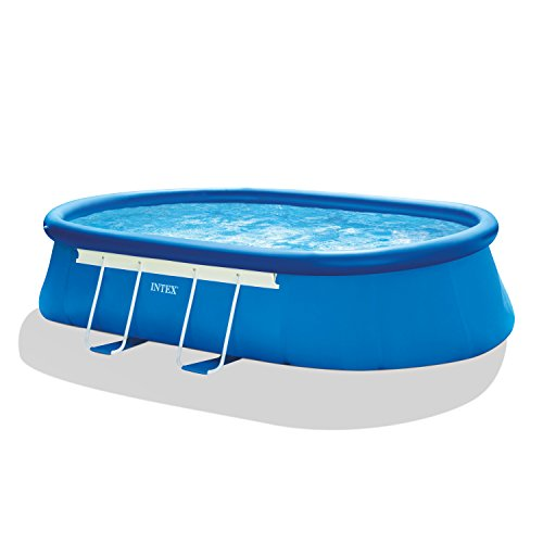 Intex Oval Frame Pool Set with Filter Pump, Ladder, Ground Cloth and Pool Cover – 18 ft. x 10 ft. x 42 in.