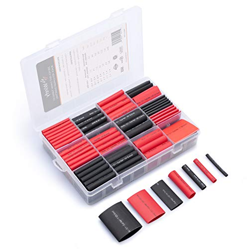 Wirefy 200 PCS Heat Shrink Tubing Kit - Larger Diameter - 3:1 Dual Wall Tube - Adhesive Lined - Marine Shrink Tubing - Black, Red