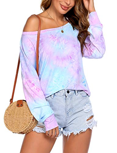 Printed Tie-Dye Shirt for Ladies Rainbow Color Block Crewneck Fashion Loose Casual Tops Blouse (Purple, X-Large)