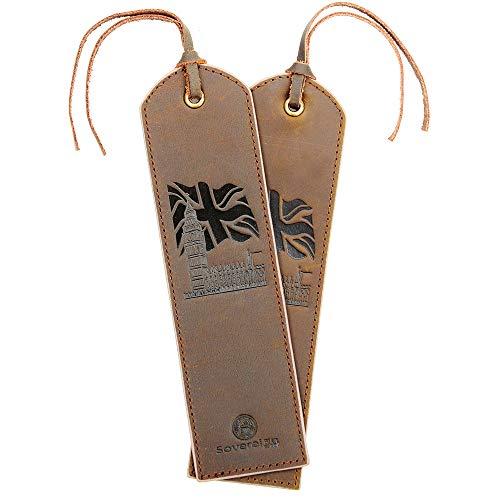 Segnalibro In Pelle Fatto A Mano Con Bandiera Del Regno Unito, Motivo Big Ben - Confezione Da 2 Segnalibri In Vera Pelle Per Uomo Donna | Ottima Idea Per Regali In Pelle Per Topo Di Biblioteca