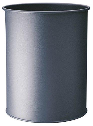 Durable 330158 Papierkorb Metall rund, 15 Liter, Griffrand, anthrazit