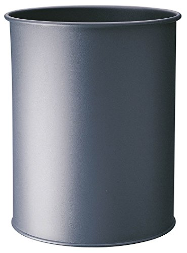 Durable 330158 Papierkorb Metall rund, 15 Liter, Griffrand, anthrazit