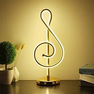 FSSQYLLX Lámpara de Escritorio LED Lámpara de luz de Nota Musical Dorada Moderna Lámpara de Noche para Dormitorio Decoración del hogar