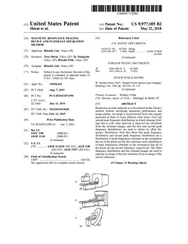 Magnetic resonance imaging device and water-fat separation method: United States Patent 9977105 (English Edition)