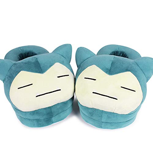 Cartoon Anime Plush Floor Slippers Indoor Shoes, Full Foot Cover Warm Slippers for Women 11 inch (Snorlax) Black