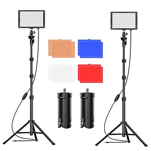 Emart - Luz LED de vídeo con 11 brillos/4 filtros de color, regulable, iluminación continua de mesa, trípode ajustable, luz de relleno USB portátil para fotografía de estudio fotográfico