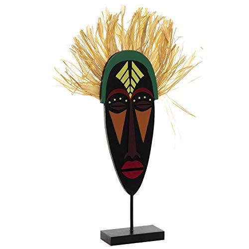 Hogar y Mas Figura Africana de Madera con Base, Escudo/Mascara Masái. 2 Modelos a Elegir, Original/Africano 20x5x40 cm - A