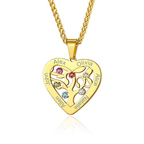 Custom4U Edelstahl Familie Halskette mit 6 Namen Gravur und Geburtsstein 18K vergoldet...