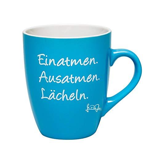 Tasse mit Sprüchen: Einatmen Ausatmen Lächeln. Farbenfrohe Kaffeetasse, Tasse, Kaffeetassen