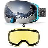 Odoland Gafas de Esquí Esféricas Grandes Sin Marco con Lentes Magnéticas...