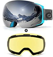 Odoland Magnetic Interchangeable Ski Goggles with 2 Lens, Blue Frame, Mirror Silver and Yellow Lens