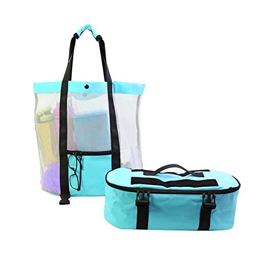 GSDGV Bolsa de playa 2 en 1, bolsa de malla de playa, ligera, plegable, grande, bolsa de playa, bolsa de verano, para ropa de toalla al aire libre, playa (azul)
