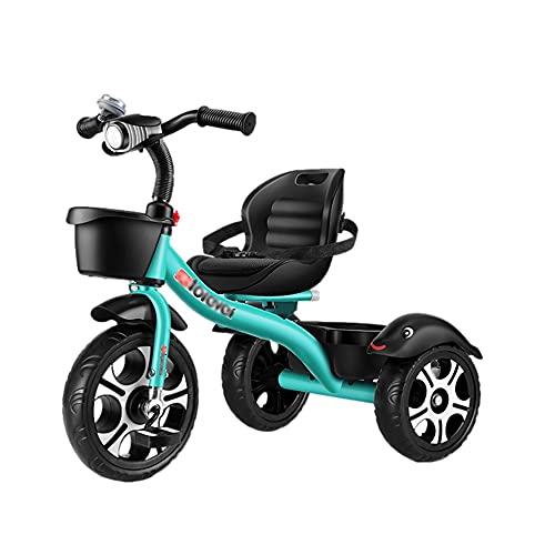 XYSQ Triciclo Bambini Tricicli Sella Regolabile Bicicletta Cestello Portaoggetti Fino A 35 kg per Bambini da 18 Mesi A 6 Anni (Color : Green)