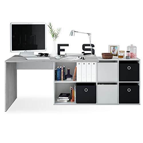 Habitdesign Mesa Escritorio, Mesa despacho Reversible, Estudio, Modelo Adapta XL, Acabado en Gris Cemento y Blanco Artik