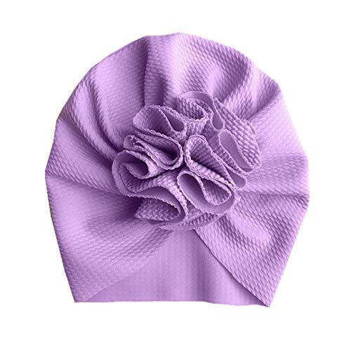 Precioso Sombrero de bebé con Flores, Sombrero Suave para niña, Turbante, Gorro para bebé recién Nacido, Gorro para la Cabeza, Gorro para niños-Style 1 Purple