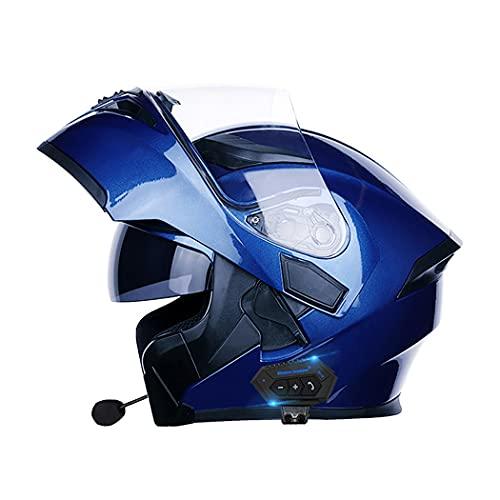 Smilfree Casco de Motocicleta Auriculares Bluetooth Radio Integrado walkie-Talkie Casco Modular antivaho de Doble Lente Casco Integral Casco de Scooter Masculino y Femenino Certificado ECE