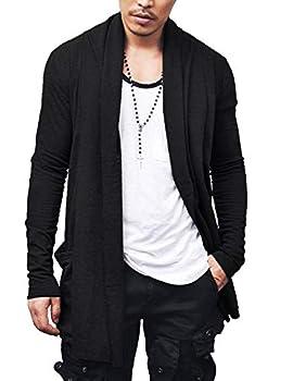 COOFANDY Men s Ruffle Shawl Collar Cardigan Premium Cotton Blend Long Length Drape Cape Overcoat Black