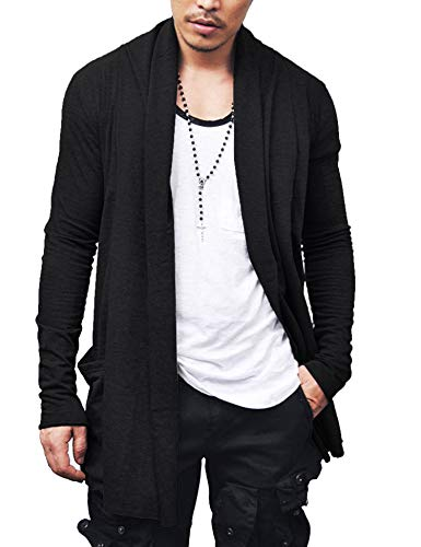 COOFANDY Men's Ruffle Shawl Collar Cardigan Lightweight Cotton Blend Long Length Drape Cape Overcoat Black