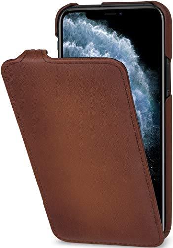 StilGut UltraSlim entwickelt für iPhone 11 Pro Hülle - iPhone 11 Pro Flip Case aus Leder, Klapphülle, Handyhülle, Lederhülle - Braun Antik
