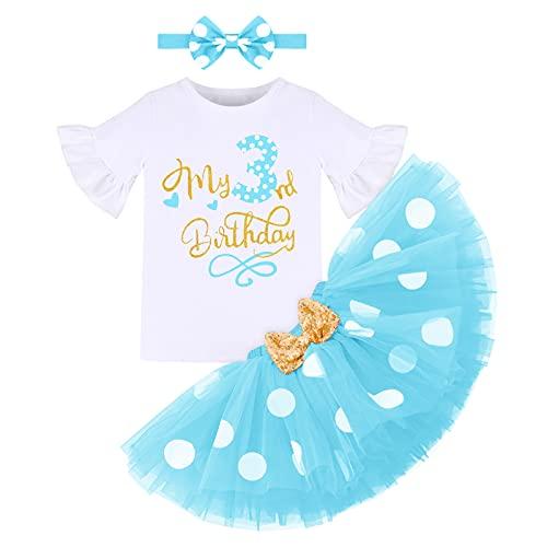 Recién Nacida Bebé Niñas Tercero Cumpleaños Trajes Conjuntos Manga Corta Mameluco+Tutú de Tul con Lunares+Diadema Bowknot 3 Piezas Disfraz de Princesa Minnie para Vestir Blanco+Azul 3 Años