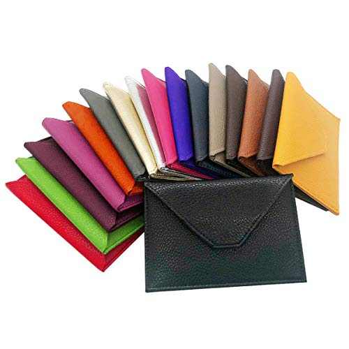 Charmoni - Darcy - Enveloppe Pochette à Rabat Porte Papier Voiture - la Carte Grise - permis de Conduire - La pièce d'identité - en Cuir Vachette - 11 cm X 15 cm (moutard)