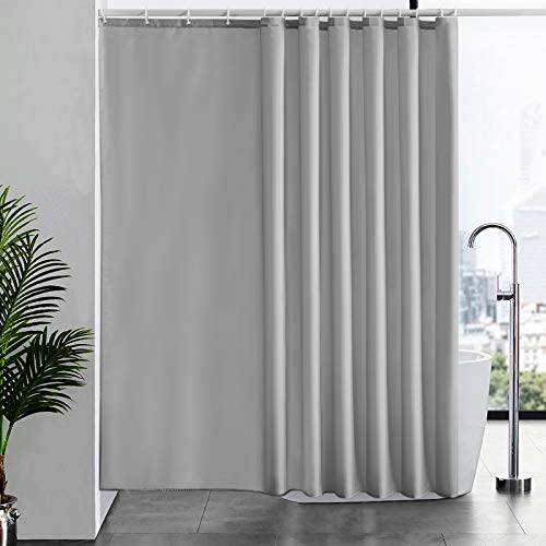 Furlinic Grauer Duschvorhang Überlänge, Badvorhang Anti-schimmel für Dusche und Badewanne in Bad, Textile Vorhänge aus Stoff Antibakteriell wasserdicht, Extra Breit 244x200cm mit 16 Haken.
