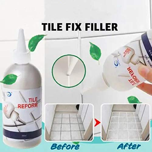 Tile Fix Filler-Tile Colouring Grout for Fill Fix and Seal The Tile gap On the Wall or Floor,Free to get Gap Stickers and Scrapers White
