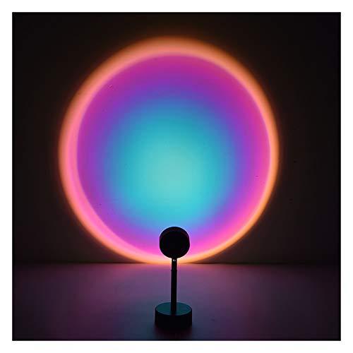Lámpara de puesta de sol, rotación de 90 grados, luz LED de proyección de arco iris, luz roja de red con USB, lámpara de iluminación de suelo romántica visual para niños y adultos (#03)
