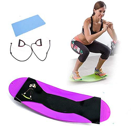 N / A Tabla de equilibrio de fitness, tabla de equilibrio para músculos abdominales y piernas, tabla de yoga para equilibrio de piernas, ejercicio, fitness y terapia física. (morado)