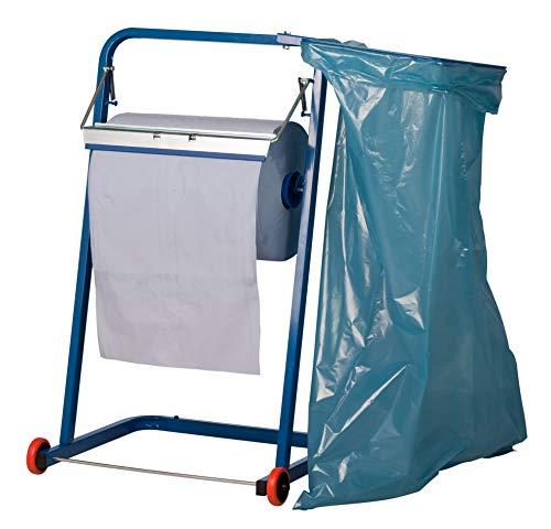 Papierrollen Bodenständer Metall rollend für Putzrollen bis 40 cm mit Müllsack-Halter - KFZ, Gewerbe, Werkstatt und Industrie