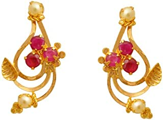 Lagu Bandhu 22k (916) Yellow Gold, Ruby and Pearl Stud Earrings for Women