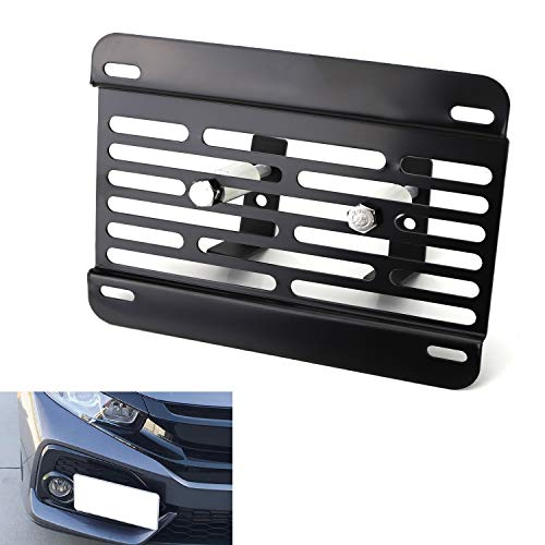 iJDMTOY No Drill Front Grille Mesh Mount License Plate Relocator Kit Compatible With 2017-2019 Honda Civic Si or Type-R Touring Hatchback