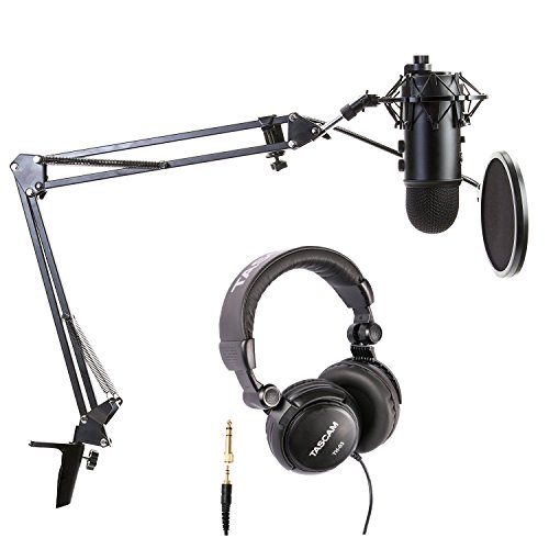 Blue Microphones Blackout Yeti Bundle with Boom arm, Pop Filter, Shock Mount and Headphones
