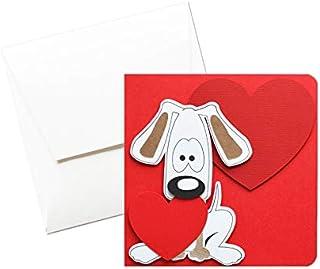 Dog in love - cuori - amore - festa degli innamorati - innamorati - biglietto d'auguri (formato 12 x 12 cm) - vuoto all'in...