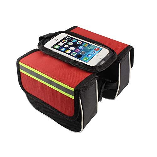 Bolsa de cuadro de bicicleta,regalos para él Bolsa de bicicleta Soporte impermeable para teléfono Bolsas de bicicleta,para teléfonos inteligentes de menos de 6.5 '' Regalos de ciclismo para hombres