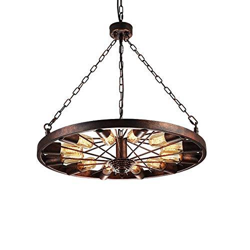 Kroonluchter, rond, Amerikaans, industrieel, 12 lampen voor tafel, kroonluchter, rond, roest, modieus, café, restaurant, lamp, decoratie, Dfgh