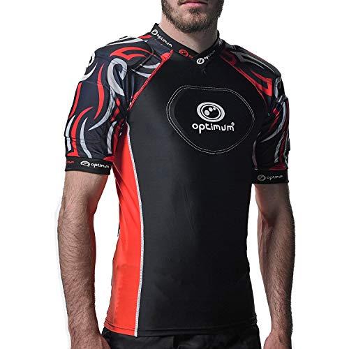 Optimum Razor Rugby Oberteil mit Schulterschutz, schwarz / rot, Mini
