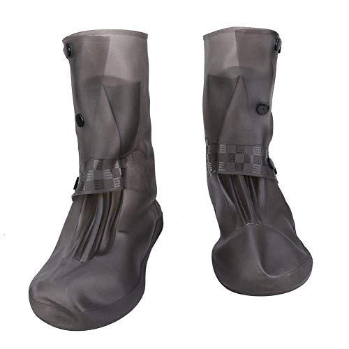 Botas de silicona para lluvia, impermeables y fundas para zapatos a prueba de lluvia Cubrezapatos gruesos resistentes al desgaste y antideslizantes sin olores Alto (gris) (L)