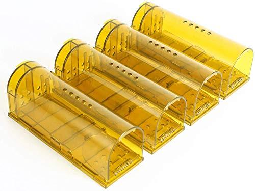 lucaSng Trappola per Topi Humane, Cattura Mouse Vivo, Trappola per Plastica, Trappola per Ratto Riutilizzabile Trasparente (Confezione da 4)