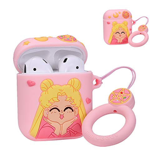 Coralogo Compatible with Airpods 1/2 Cute Case,Cartoon Character Silicone Airpod Designer Skin Kawaii Funny Fun Cool Keychain Ring Design Cover Air pods Cases for Girls Ladies Kids Teens(Sailor Moon)
