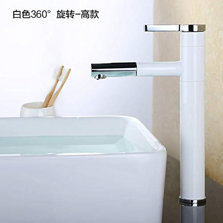 Jingjingnet Wasserhahn für Wasserhahn, Wei mit 360-Grad-Drehung, für heie und kalte Wasserhahn, 1 Loch, Kupfer