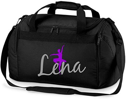 Sporttasche mit Namen   Personalisieren & Bedrucken   Motiv Ballett-Tänzerin   Reisetasche Umhänge-Tasche für Mädchen   inkl. Namensdruck (schwarz)