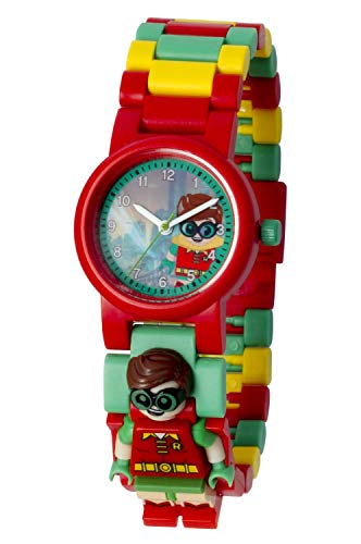 Reloj infantil modificable de LEGO Batman Movie. Emblemática figurita de LEGO Robin en la pulsera.