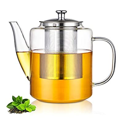 Glass Teapot with Stainless Steel Infuser & Lid, Borosilicate Glass Stovetop Safe Tea Kettle, Blooming and Loose Leaf Tea Maker Set 47 Ounce / 1400ml